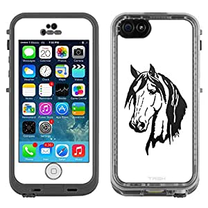 Skin Decal for LifeProof Apple iPhone 5C Case - Silhouette Horse Head on White