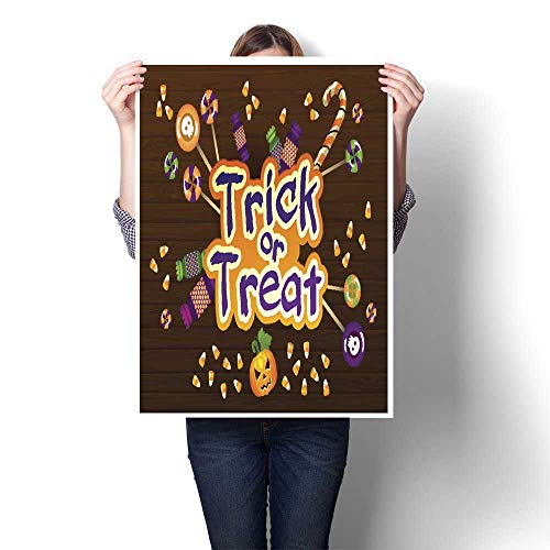 homehot Wall hangings Happy Halloween Trick or Treat Greeting Card with Sweets on Decorative Fine Art Canvas Print Poster K 24