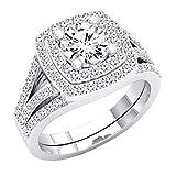 2.65 Carat (Ctw) 10K White Gold Round Cut Cubic Zirconia Ladies Halo Engagement Ring Set (Size 8)