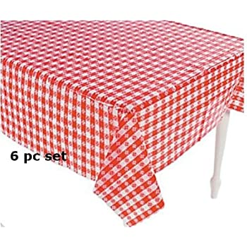 (6) Plastic Red And White Checkered Tablecloths   6 Pc   Picnic Table Covers