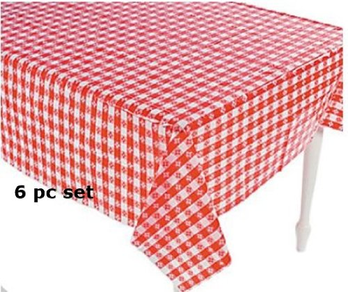 (6) Plastic Red and White Checkered Tablecloths - 6 Pc - Picnic Table (Red Checkered Plastic Tablecloth)