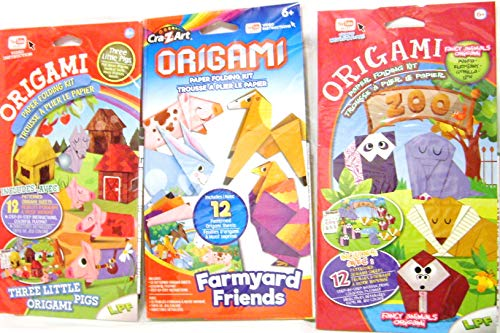 Origami Paper Folding Kit with YouTube Ready Video Instructions for Origami Fancy Animals, Farmyard Friends and Three Little Pigs for Age 6+ (3 -