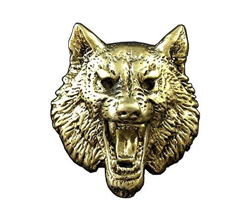 Wolf Head Solid Brass Concho For Biker Wallet ScrewBack (Brass Conchos)