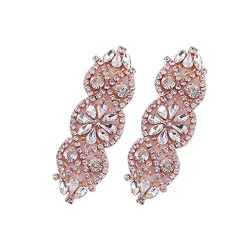 (FANGZHIDI Mini Sparkly Crystal Wedding Applique Rose Gold,Beaded Rhinestone Applique Embellishment Decoration with Glass Beads for Bridal Dress Headband Shoes Flower Shape Sash Belt Addition -2 Pieces)