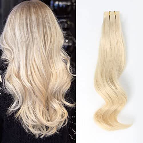 ABH AmazingBeauty Hair Amazingbeauty Semi-permanent Tape Attached Real Remi Remy Human Tape in Human Hair 50g 20pcs Skin Weft Invisible Seamless Reusable Platinum Ash Blonde Color 60 16 Inch
