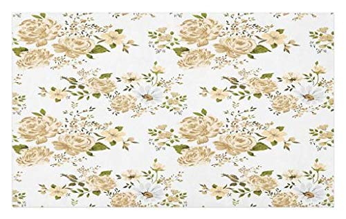Ambesonne Flowers Doormat, Gardening Theme Floral Design Vector Illustration Roses Botany Inspired, Decorative Polyester Floor Mat Non-Skid Backing, 30 W X 18 L inches, White Beige