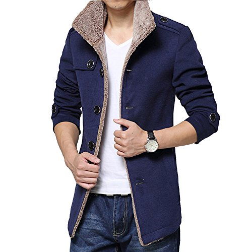 Blue Vessel Herren schlanke Parka Fleece Winter warme Jacke Trenchcoat Casual Mantel (Navy-blau)