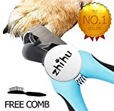 zhihu Pet Nail Clippers and Trimmer with Safety Guard & Free Nail File for Large Dogs Pets, Free Flea Comb - Razor Sharp Blades - Sturdy Non Slip Handles - for Safe, Professional at Home Grooming (A)