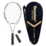 Senston Adult Tennis Racket Prestrung Tennis Racquet ,Strung with Cover,Tennis Overgrip , Vibration Damper(White)