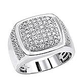 10K Rose, White or Yellow Gold Mens Diamond Rings Unique Diamond Wedding Band 1.5ctw (White, Size 11)