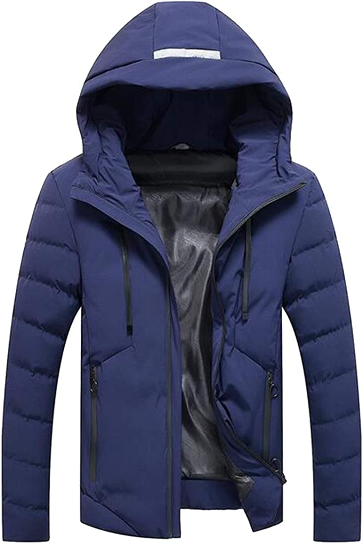 Fensajomon Mens Plus Size Warm Hooded Full-Zip Down Quilted Jacket Coat
