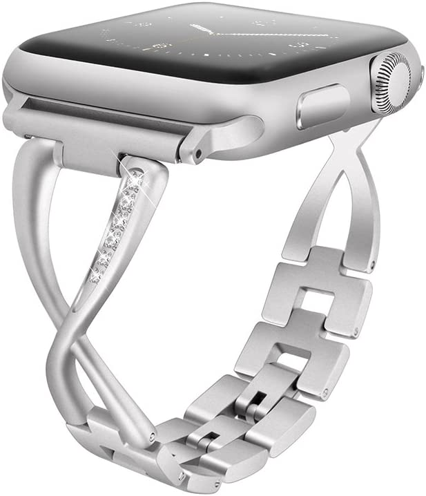 OKJK Stainless Steel Band Compatible Apple Watch Band 42mm 44mm Women Iwatch Series 5/4/3/2/1 Accessories Metal Wristband X-Type Sport Strap (No Tool Needed)