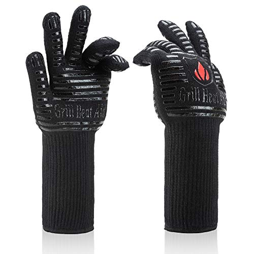 BBQ Gloves Extreme Heat Resistant for Baking, Smoking, Cooking, Grilling, Barbecue, Fireplace, Camping - More Flexibility for Kitchen or Outdoor Than Oven Mitts, Protect Up To 932°F, 14 inch Long Cuff