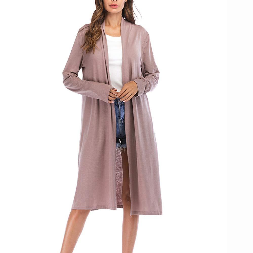 TOOPOOT Women's Cardigan Long Sleeve Lapel Open Cardigan Trench Jacket Coat