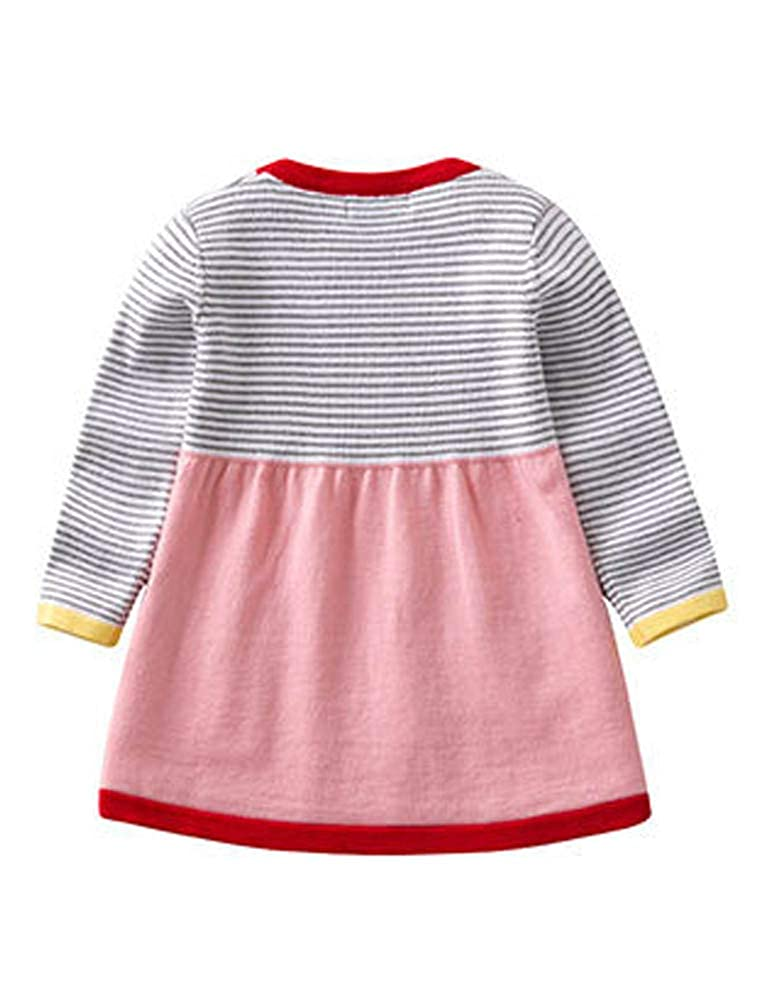 ARAUS Baby Girls Striped Knitted Dress Infant Long Sleeve Cotton Spring Autumn Casual Pullover