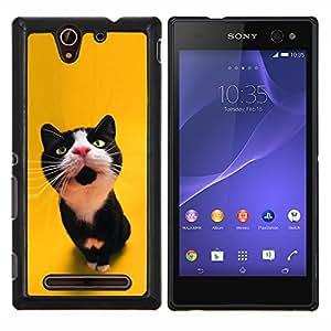 EJOOY---Cubierta de la caja de protección para la piel dura ** Sony Xperia C3 ** --Lindo japonés del gato feliz