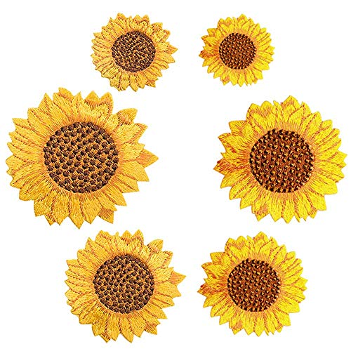 Floosum Embroidered Patches, 6 Pack Delicate Embroidered Van Gogh Sunflower Iron On Patches Appliques for Men Women Boys Girls ()