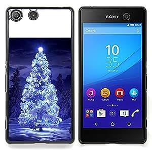 Stuss Case / Funda Carcasa protectora - Luces del árbol de navidad nieve azul noche de invierno - Sony Xperia M5