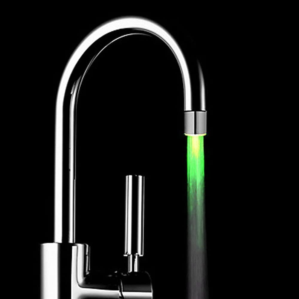 3 color Fullfun Romantic Color Change LED Light Glow Replacement Faucet for Kitchen//Bathroom Water Tap