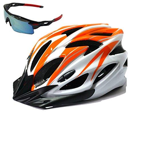 花火ビジョン最大化する【AHKAH WORKS】男女兼用 軽量 自転車用 ヘルメット サングラス付 サイズ調整可