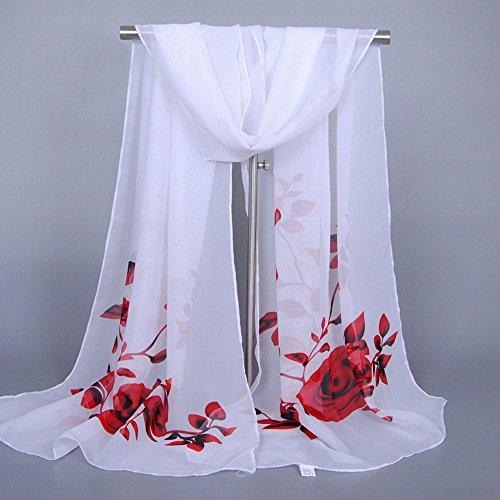 oversize da lunga Aimee7 donna chiffon in rosso classico Sciarpa autunno Sciarpa wHqTqEz