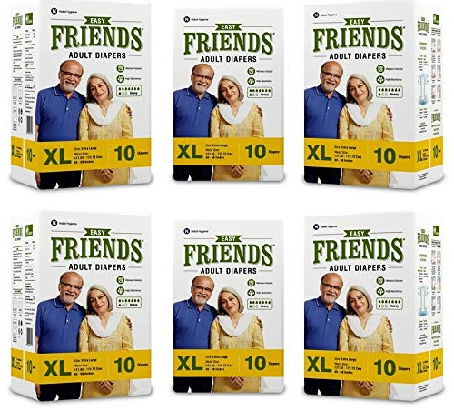 Friends Easy Adult Diapers Tape Style – 60 Count (Extra Large) with odour lock and Anti-Bacterial Absorbent Core- Waist…