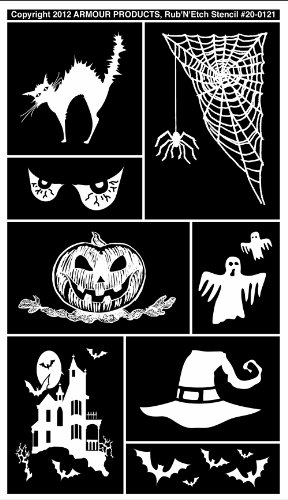 Armour Products Etch Rub N Etch Stencil, 5-Inch by 8-Inch, Halloween -