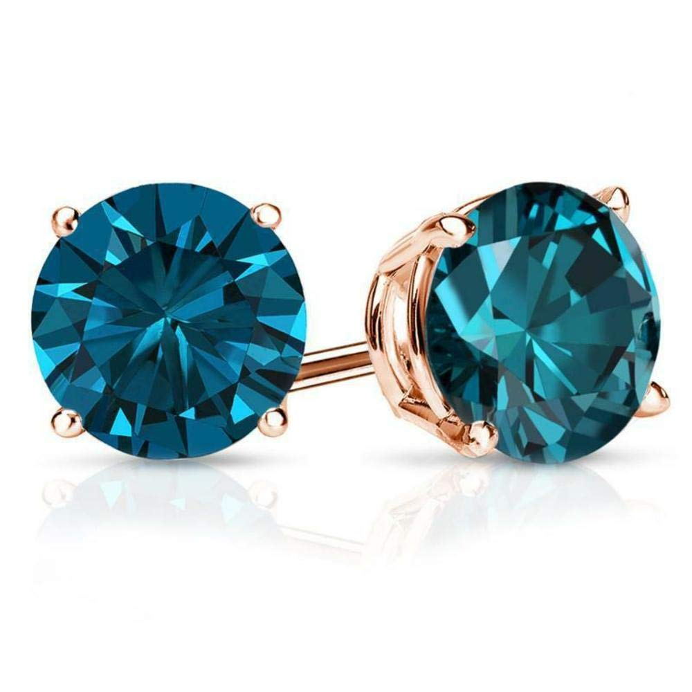 3.00 ct Round Brilliant Cut Blue Diamond Stud Earrings in 14k 585 Rose Gold Brilliant Cut Basket Screw Back