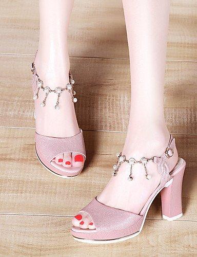 LFNLYX Zapatos de mujer-Tacón Robusto-Punta Abierta-Sandalias-Boda / Oficina y Trabajo / Vestido / Casual / Fiesta y Noche-Sintético-Rosa / Pink