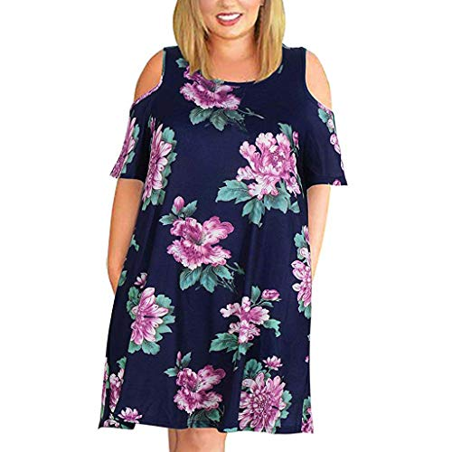 - Witspace Ladies Summer Fashion Cold Shoulder Large Size Casual T-Shirt Dress with Pocket