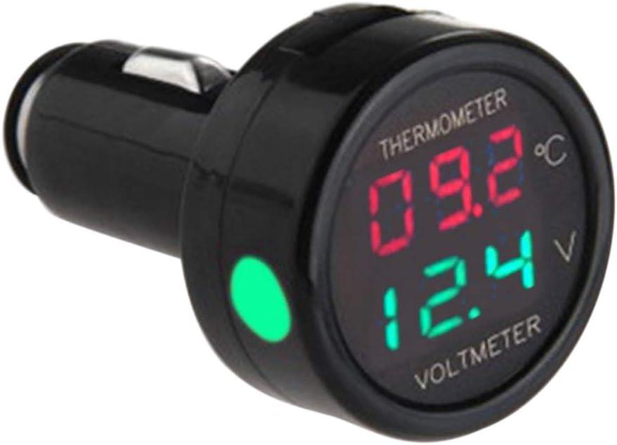2 In1 Auto Zigarettenanzünder Digital 12v 24v Voltmeter Thermometer Multi Funktion Kfz Ladegerät Für Pkw Lkw Grün Rot Auto
