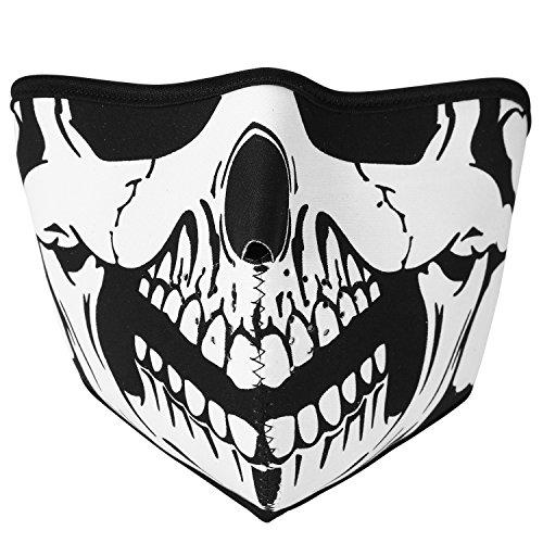 TSWRK Skull Mask Halloween Costume Biker Half Face Wind Protector Studded Vented (Half Face Halloween Skull)