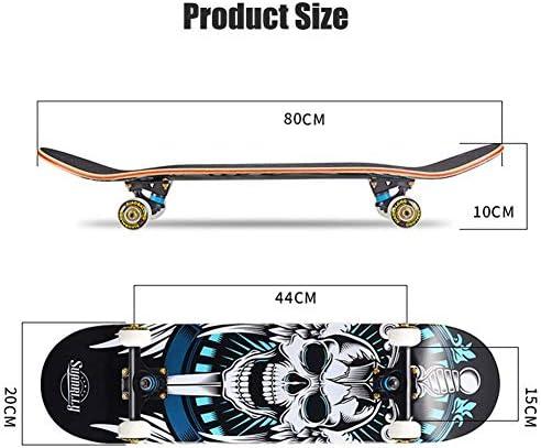 Planche à roulettes professionnelle à quatre roues de 31 pouces, planches à roulettes concaves à double coup pied en bois d'érable à 7 couches pour garçons filles jeunes adultes Tricks Skate Board
