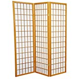 wood 5 panel - Oriental Furniture 5 ft. Tall Window Pane Shoji Screen - Honey - 3 Panels