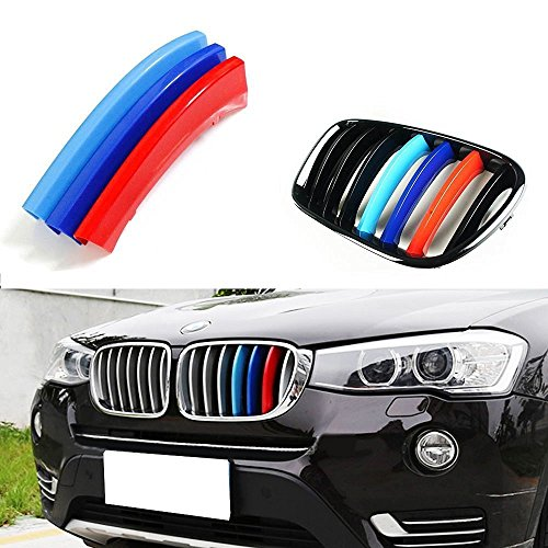 lanyun M Color X Series Grille Insert Trims Decorate for BMW Year 2011-2017 X3 F25 or X4 F26 Grill Stripes(11-17 F25 X3 OR 14-up F26 X4 7-Beam Grille Insert) ()