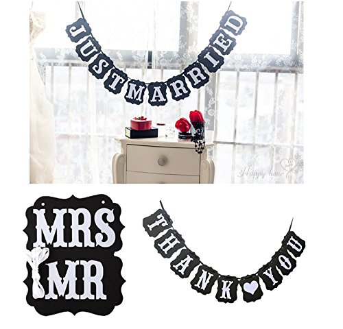 Vintage Wedding Engagement Party Decoration Banner (JUST MARRIED, THANK YOU, MR MRS) ()