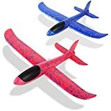 Foam Glider Airplane Toys Aircraft Hand Throwing Planes Flying Aeroplane Model Outdoor Sports Toys 3 Flight Mode Birthday Party Favor Gift for Kids 2 Pack (Red & Blue)