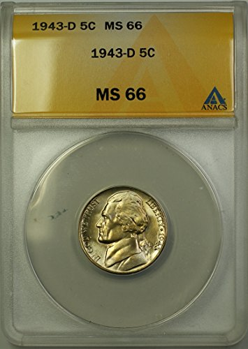 1943 D Jefferson Wartime Silver 5c Coin (RL-E) Nickel MS-66 ANACS