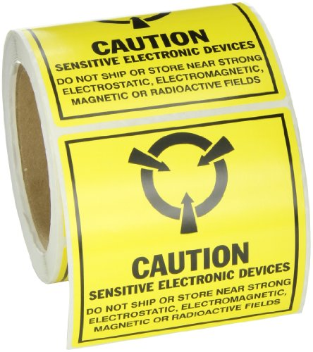 Brady SL-5 Removable Paper Static Awareness Labels , Black On Yellow,  4.000