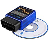 F&C Car Vehicle Bluetooth OBD2 OBDII Scan Tool 16 Pin Scanner Adapter Code Reader Check Engine Light Diagnostics for Android Compatible