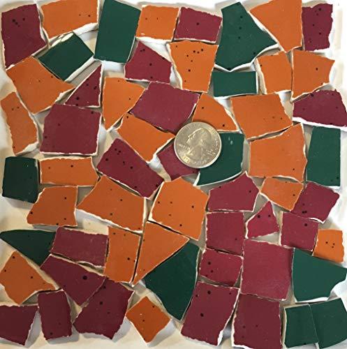 Broken China & Stoneware Mosaic ~ Orange Green & Red Tiles w/Black Speckled (B400sp)
