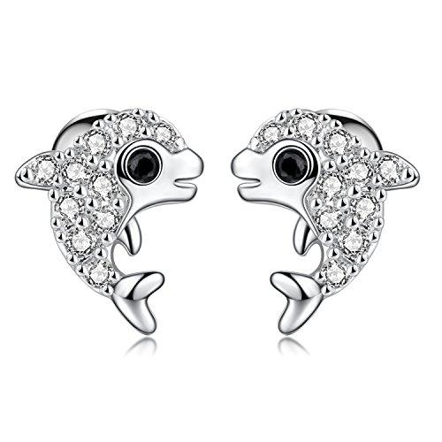 1 Pair 18G Stainless Steel Cute Dolphin Cubic Zirconia Cartilage Stud Earrings Helix Piercing Women Girls (White)