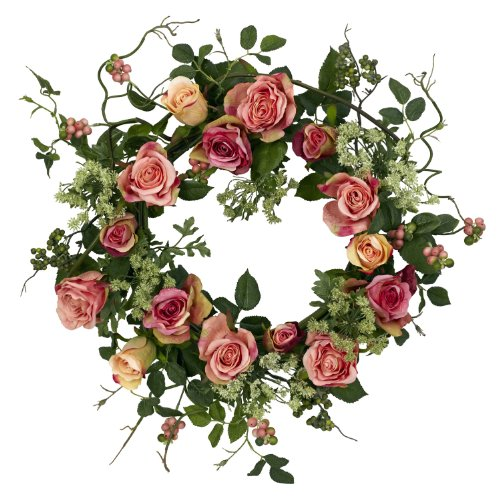 (Nearly Natural 4802 Rose Wreath, 20-Inch, Peach)
