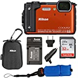 Nikon Coolpix W300 Waterproof Digital Camera, Orange + Nikon Sport Case + 32GB Card + Battery Charger + Bundle