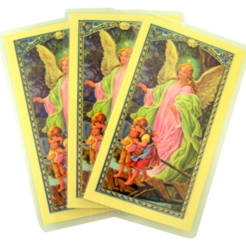 Laminated Guardian Angel with Children Holy Card with Prayer on Back, Pack of ()