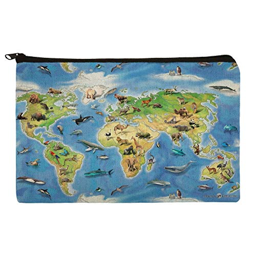 Animals of The World Continents Atlas Globe Pattern Pencil Pen Organizer Zipper Pouch -