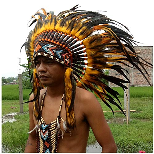Carnival Party Feather Headdress Native American Indian Headdress Warbonnet Feather Hat Halloween Christmas festival Party hat Halle Moto -S