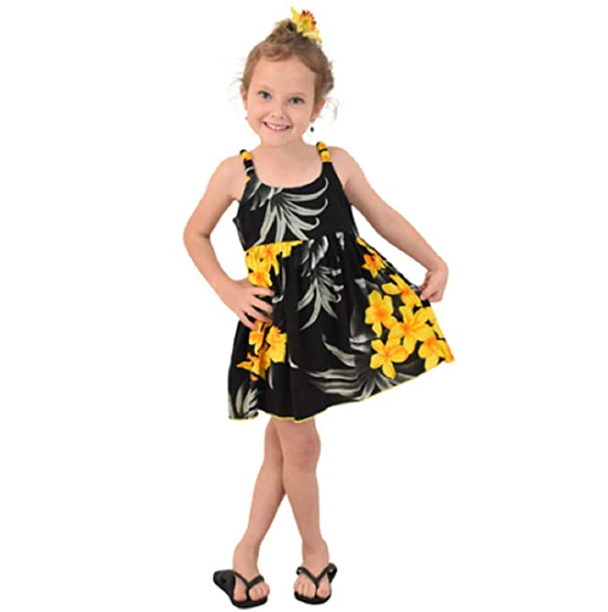 7b0ed2bce722 Amazon.com: Favant Girls Sundress Hawaiian Floral Leaf Print Beach Cruise  Luau Aloha Bungee Dress: Clothing