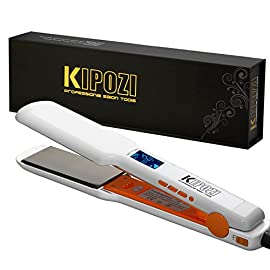 KIPOZI Professional Titanium Hair Straightener - 1.75 Inch Dual Voltage Flat Iron Heat up Fast with Digital LCE Display and Adjustable Temperature, White - 51pnJdfPjfL - KIPOZI Professional Titanium Hair Straightener – 1.75 Inch Dual Voltage Flat Iron Heat up Fast with Digital LCE Display and Adjustable Temperature, White