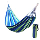 Physport Travel Camping Hammock Cotton Fabric Swing Bed Canvas Stripe Outdoor Portable with Bag